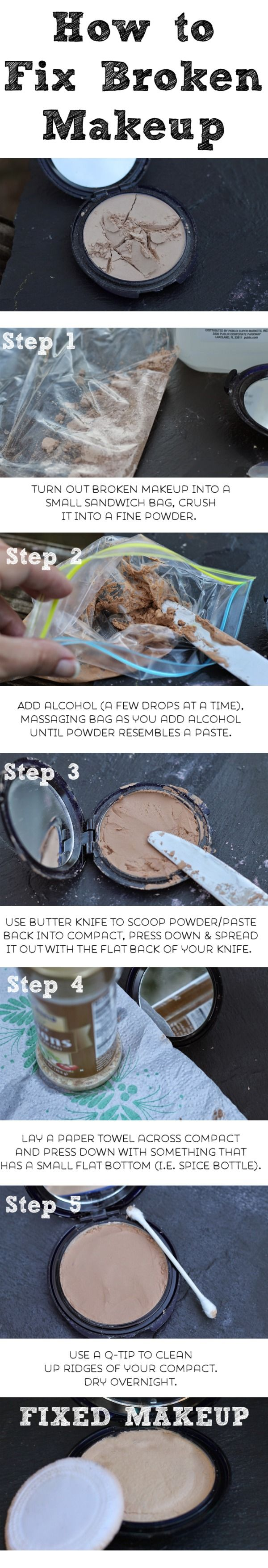 How to fix broken powder makeup with alcohol in four simple steps - 10 Homemade Recipes For Beauty Products How To Fix Broken Eyeshadow Blush Or Foundation