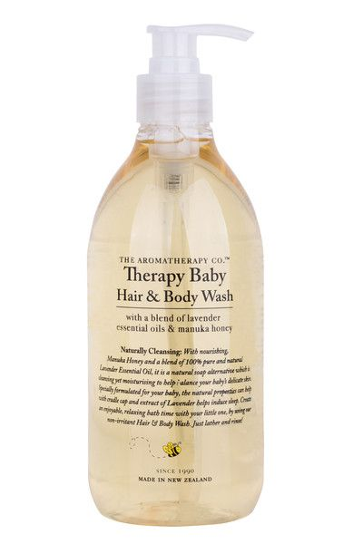 With nourishing Manuka honey and a blend of 100% pure and natural, organic Lavender Essential Oil, The Aromatherapy Company Therapy Baby Hair & Body Wash is a natural soap alternative which is cleansing yet moisturising to help balance baby's delicate skin. Specially formulated for baby, the natural properties can help with cradle cap and extract of lavender helps induce sleep. 500ml. Made in New Zealand. Contains natural active ingredients. Sulphate free.