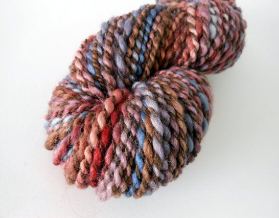 Bush Flowers - soft bulky weight Merino 2 ply handspun yarn. Spun from hand-painted merino wool top plied with naturally coloured merino. By EarthMother Designs.