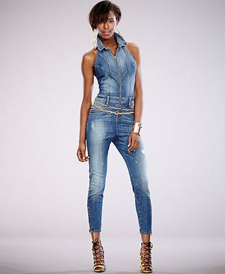 e0ec84cd2ff Women s Sexy Sleeveless Butt-Lifting Zip Up Jean Denim Jumpsuit. 15 best  Favorite Denim Jumpers images on Pinterest