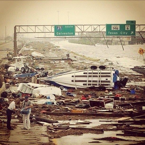 Hurricane Ike Galveston TX.  I was in this hurricane.  NO FUN!!!