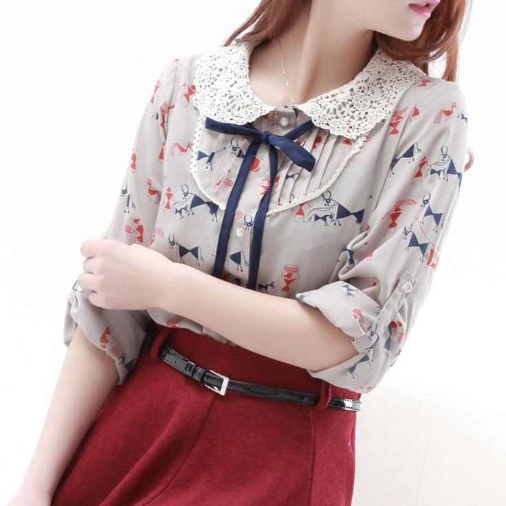 Peter pan blouse red skirt #lechic
