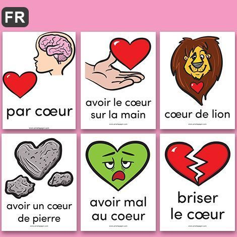 FREE French Posters: expressions with the word COEUR | GRATUIT! Affiches de 16 expressions avec le mot COEUR.