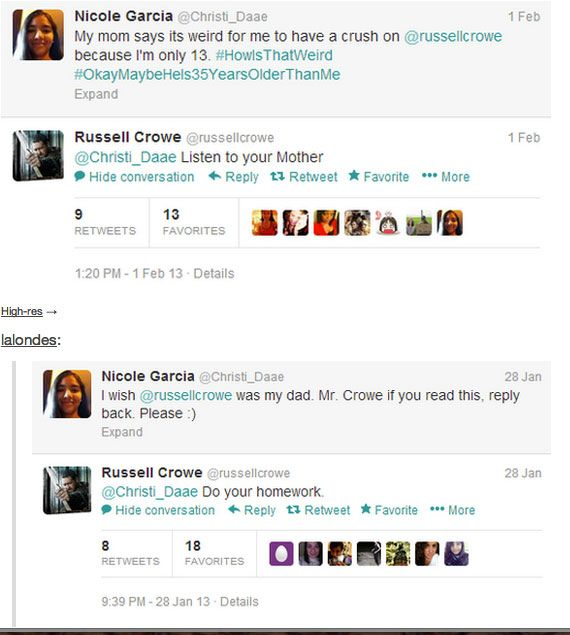 LOL | Russell Crowe, this made my day! I have a crush on him and I'm twelve xD