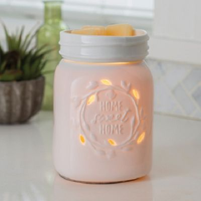 Mason Jar Illumination Warmer ~ Add the perfect touch of warmth and style to your home decor with a Decorative Ceramic Warmer. Safely warm and melt your favorite scented wax to release long-lasting fragrance into your home. A great alternative to burning candles.
