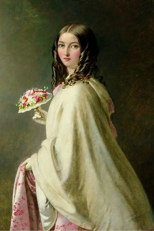 ⊰ Posing with Posies ⊱ paintings & illustrations of women & children with flowers - The Bridesmaid, Thomas Brooks