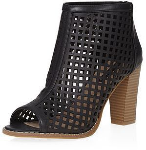 Womens black 'alicia' peep toe boots from Dorothy Perkins - £35 at ClothingByColour.com