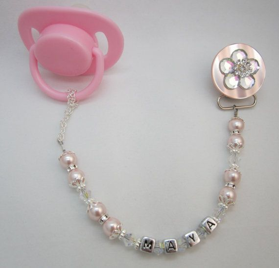 Personalized Baby Pink Pacifier Clip available in white too (CPFNAME) on Etsy, $29.99