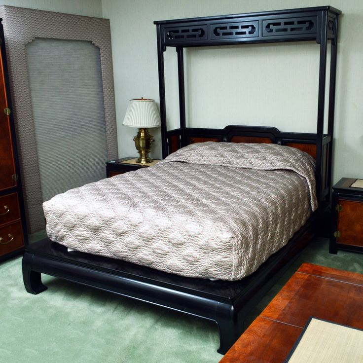 Asian Inspired Queen Size Platform Bed By Stanley Furniture And Custom Bedspread