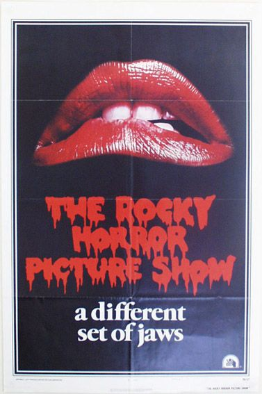"Rocky Horror Picture Show - One Sheet Poster (Style A). Size: 41"" x 27"" Printed in USA (1975). Description: Lips and logo on black background. Printed in bottom left: ""1975 Twentieth Century-Fox Film Corporation"" Printed in bottom centre: ""Litho in U.S.A"" and ""National Screen Service Corp details"" and ""Style A"" Printed in bottom right: ""75/127"" and ""The Rocky Horror Picture Show""."