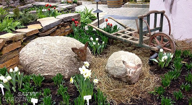 Cute stone sheep in Tourism Ireland's Wild Atlantic Way garden at Canada Blooms 2014