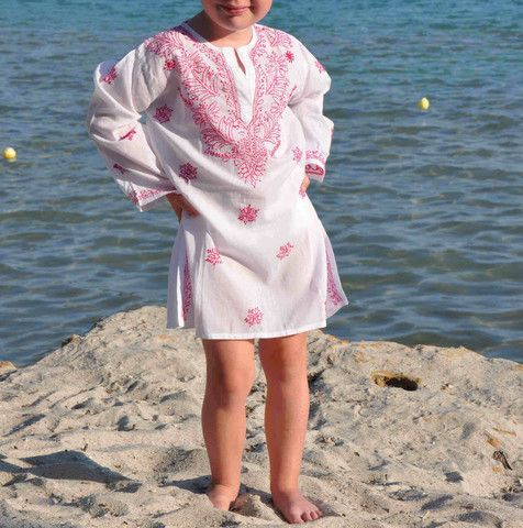 Kids Mini Beach Cover up in white with accents of Raspberry Pink Embroidery from www.beachcover.com