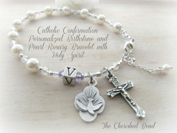 Catholic Confirmation Personalized Birthstone & Pearl Rosary Bracelet with Holy Spirit Charm on Etsy, $32.00