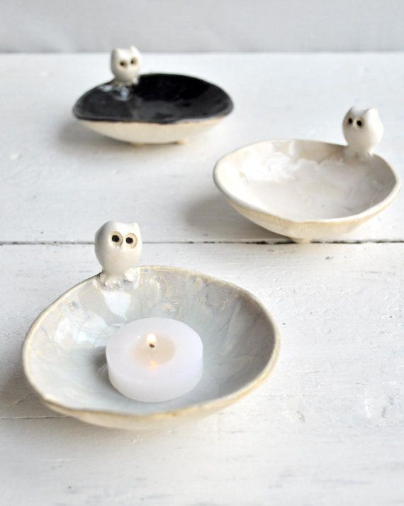 Ceramic owl bowl by OneClayBead- cute idea for a candle or jewellery holder :)