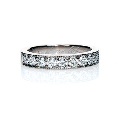 Diamond ring, White gold, wedding band, diamond wedding band, gold ring, engagement ring, vintage style ring, promise ring, diamond. $2,690.00, via Etsy.