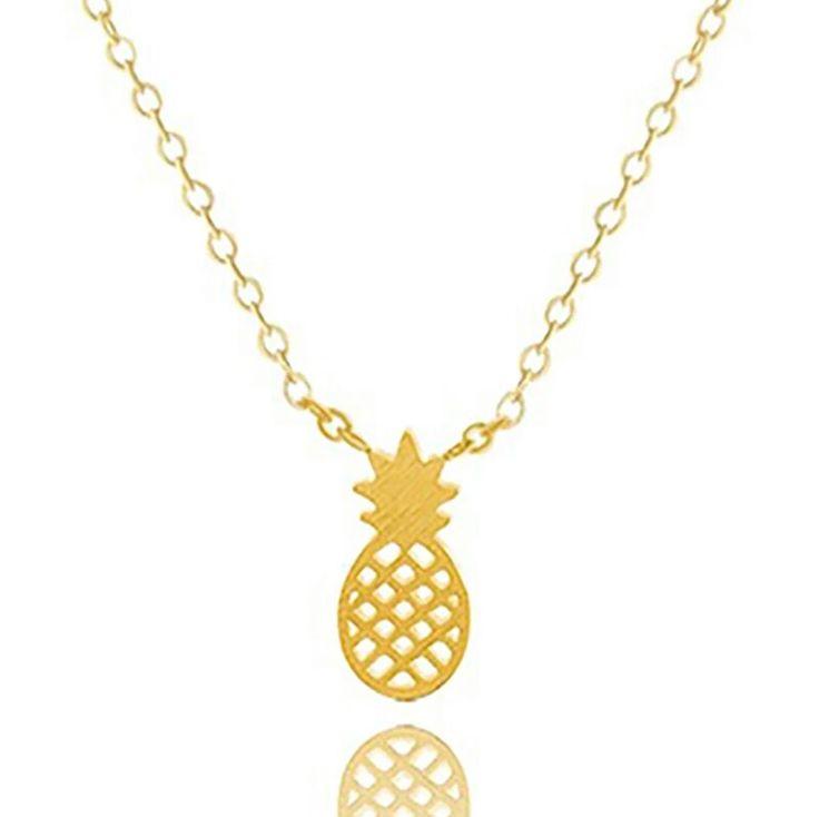 Collier Ananas. Collier monté sur une chaîne plaque or 14k PendentifAnanas2,5 cm. Un bijou raffinée et tendance à la fois à porter tous les jours.