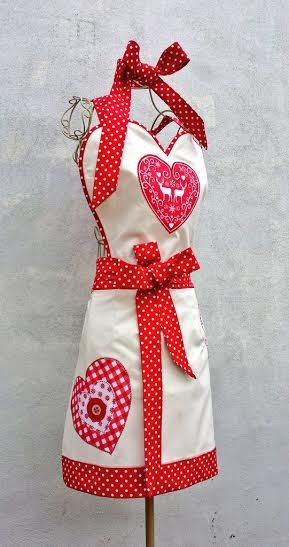 REINDEER HEART APRON Christmas Retro Full Apron With/Without Headband Long Tie Kids Regular Size Plus Size Handmade Fabric Christmas Gift
