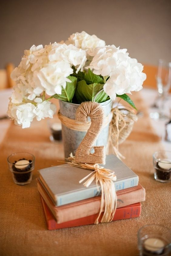 rustic string wedding table number centerpiece / http://www.deerpearlflowers.com/diy-wedding-table-number-tutorials-samples/6/