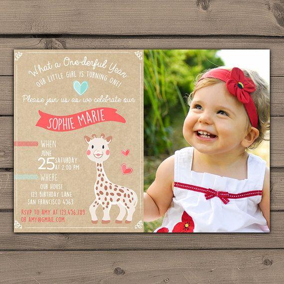 First Birthday invitations Sophie the Giraffe 1st Birthday invite Birthday party Rustic Giraffe invite with photo  Kraft paper DIY Printable