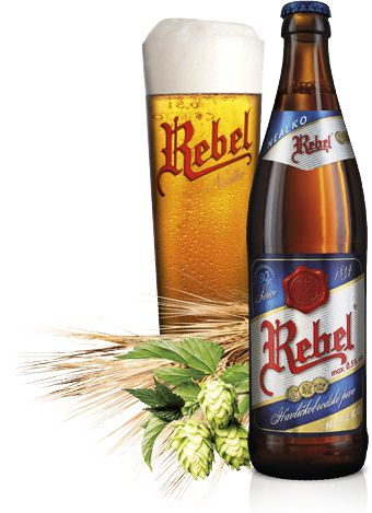 Non-alcoholic Rebel - Pale non-alcoholic beer, up to 0,5 % vol.  For brewing non-alcoholic Rebel beer well-balanced combination of light and Bavarian malt with the most quality sorts of hops of Žatec is used. A wonderful golden colour matches extensive bitterness, intensive hop smell and full taste that invites to further drink.