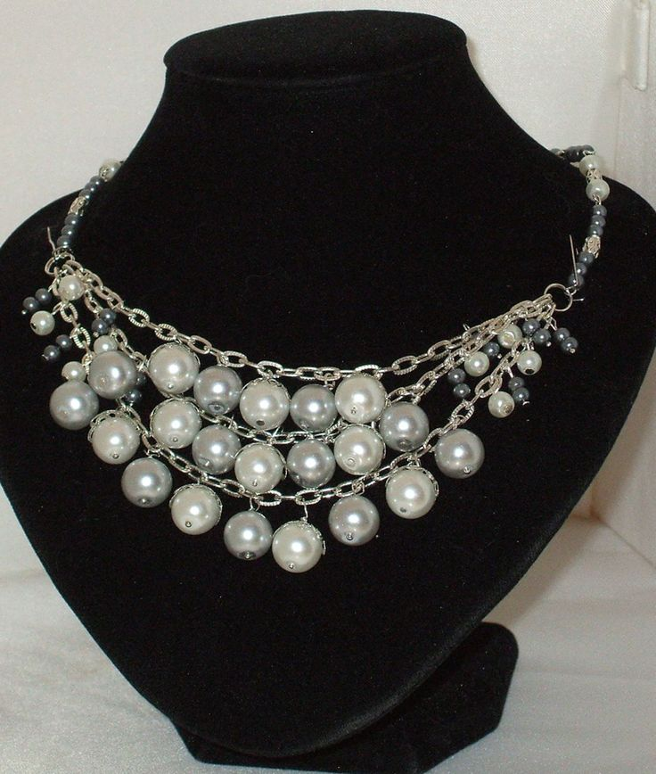 Pearl Cluster Necklace in Silver and White $35 Available in many colours