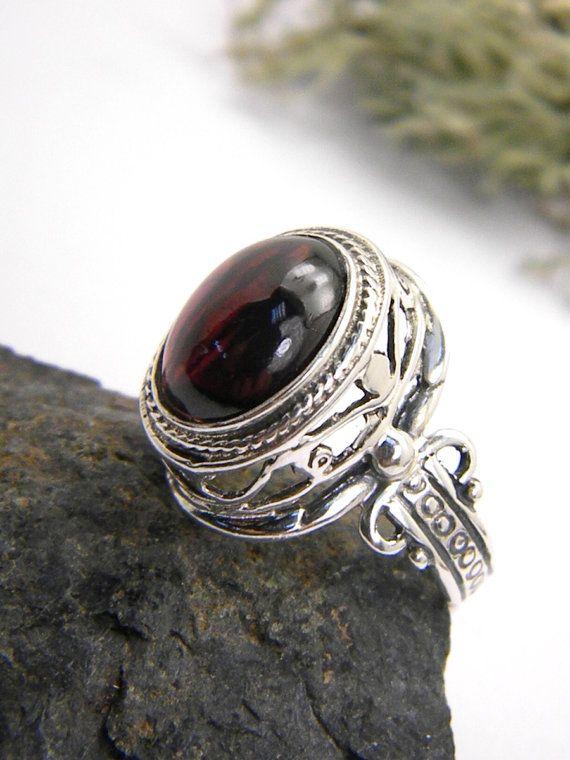 Statement ring garnet stone Ornate Filigree by nikiforosnelly