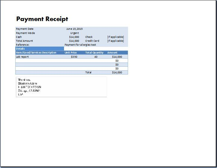 MS Excel Payment Receipt Template Collection of Business - payment slip format free download