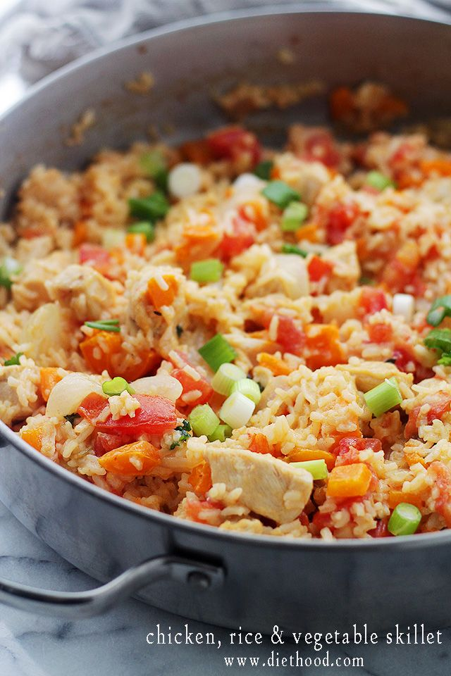 Chicken, Rice and Vegetable Skillet | www.diethood.com | Everything you need for a delicious dinner made in just one skillet! | #recipe #dinner #chicken