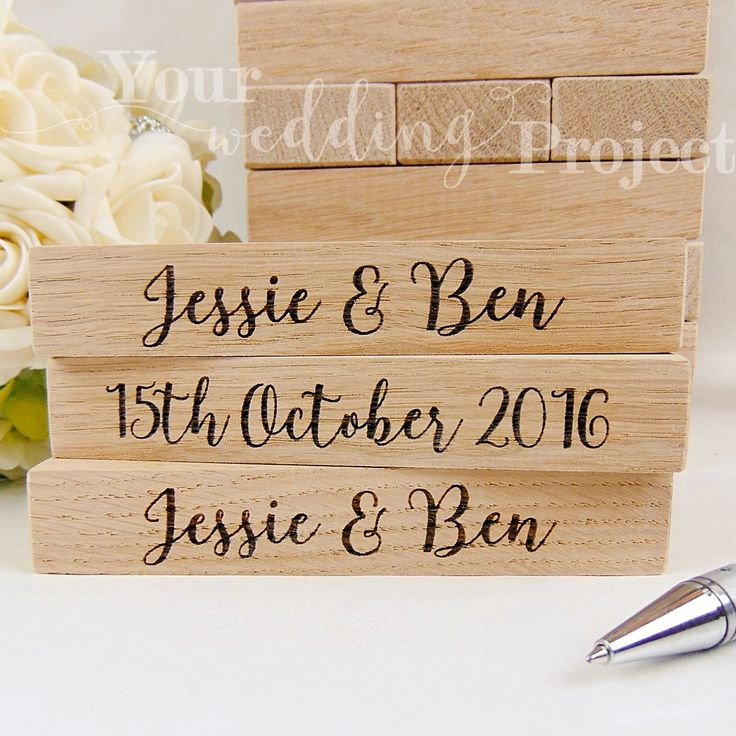 "Custom Oak Wood ""Jenga"", Wedding ""Jenga"", Wedding Guest Book Alternative, Custom Engraved ""Jenga"", Wedding Gift, Rustic Wedding Guest Book by YourWeddingProject on Etsy https://www.etsy.com/listing/384794134/custom-oak-wood-jenga-wedding-jenga"