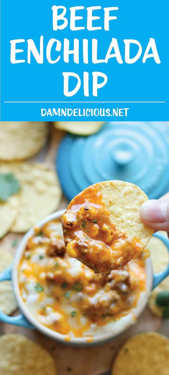 Beef Enchilada Dip - This meaty, cheesy enchilada dip comes together in just 15 minutes, and is the perfect crowd pleasing appetizer!