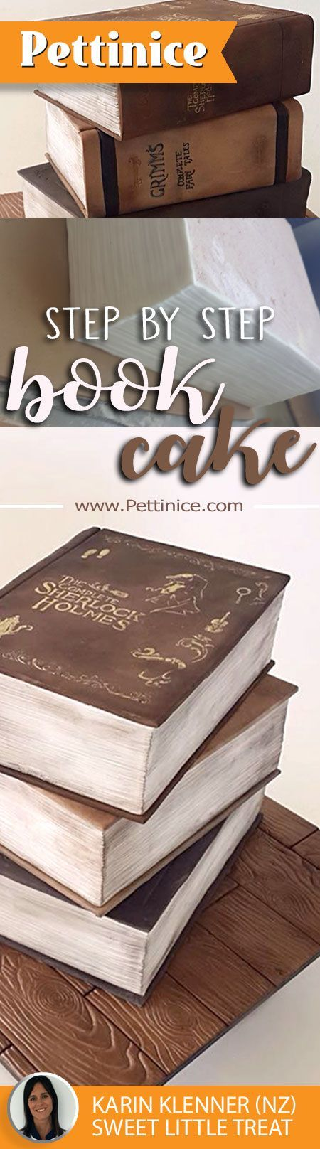 Step by step tutorial for making a 3D book cake or stacked book cake.