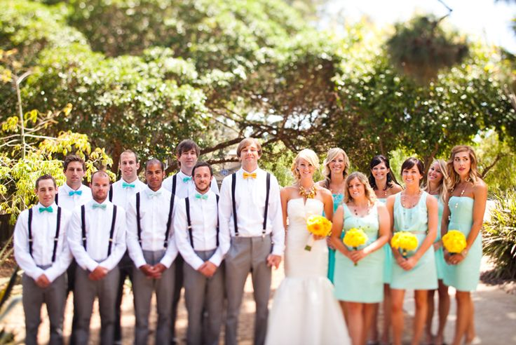 Turquiose bridesmaids dresses, turquoise groomsmen bowties, outdoor wedding inspiration, yellow decor inspiration, Aaron Shintaku photography, The Thursday Club, Point Loma, San Diego California, Jessi Hack, JL Designs