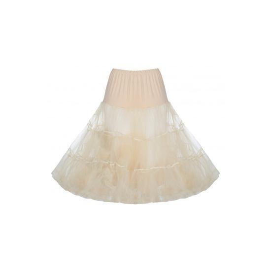 Spodnička k šatům Lindy Bop Champagne krásná bohatá tylová spodnička určená k šatům z alba vintage/retro, ale i k jiným, dokonale pozvedne výraz šatů, bohatý objem, příjemná krémová barva, délka cca 60 cm