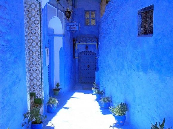 Beautiful blue town in Morocco.