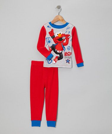 Take a look at this Red & Gray Elmo Singing Pajama Set - Toddler by Sesame Street on #zulily today!