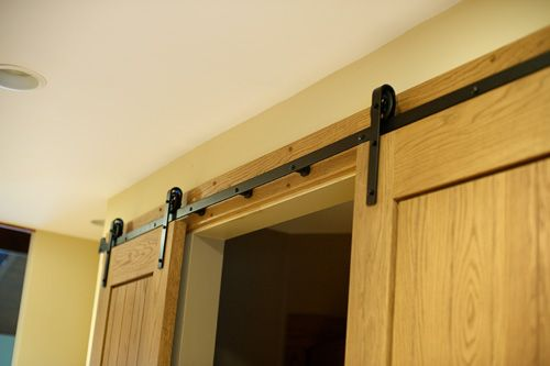 Small barn closet doors you just mount the track on for Small closet barn door