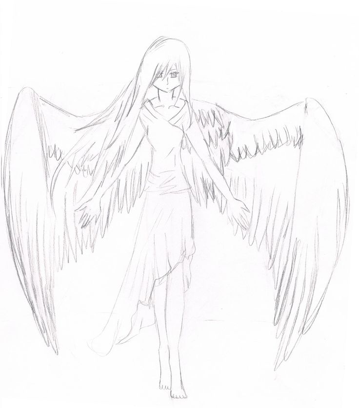 Sad Anime Angels Drawings In Pencil