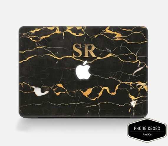Marble Macbook Case.  Monogram Macbook Case. by PhoneCasesandCo