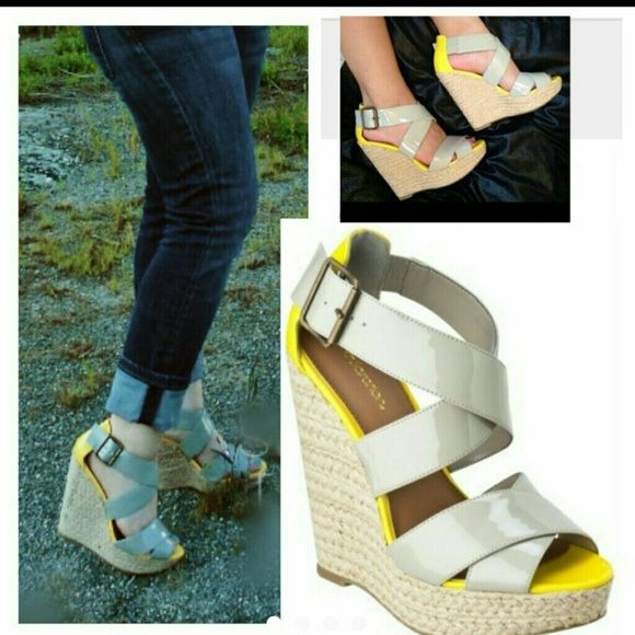 Yellow & Grey espadrille Wedge 4+inches  Beautiful cris cross  design You can see some signs of wear up close on pics on wedge part mostly Shoes Wedges