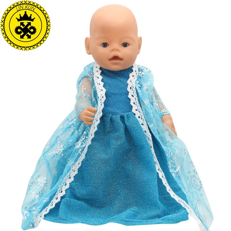 Fit for 43cm zapf baby born doll clothes elsa blue lace dress princess