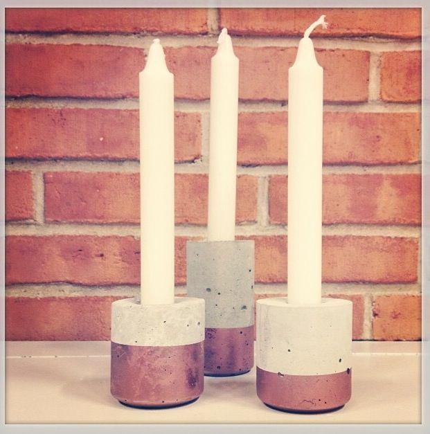 Skønne beton/kobber stager