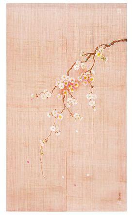 100% Linen Japanese Noren Curtain - Hand Painted
