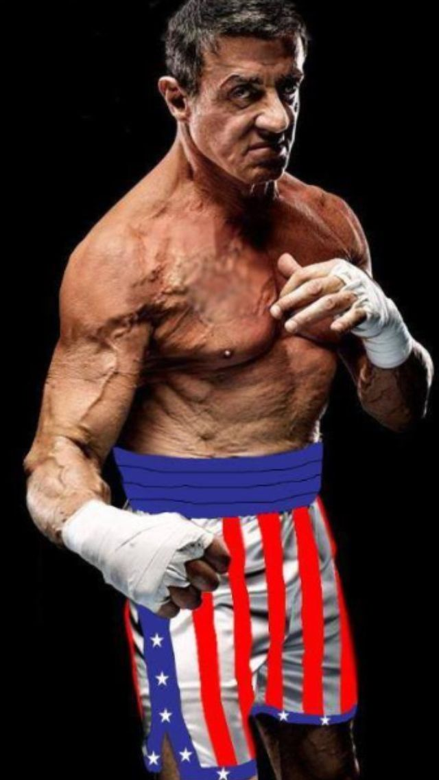 Old Sylvester Stallone in his Rocky boxing shorts Apollo gave him in Rocky III