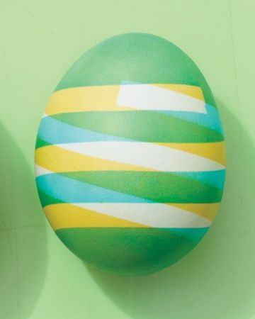 Use narrow strips of electrical tape to create graphic stripes on Easter eggs.