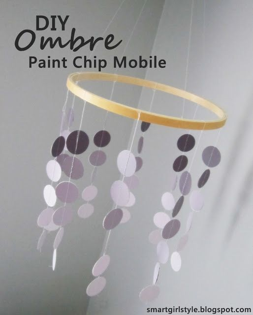 DIY ombre paint chip mobile for nursery or toddler's room.