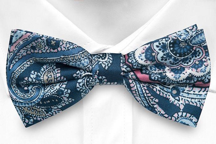 Pre tied bow tie - Blue Paisley - Notch VINCENZO