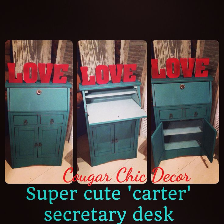 Mini secretary desk painted with Van Gogh fossil paint in our limited edition color 'carter'...LOVE this color! www.facebook.com/cougarchiccollectables