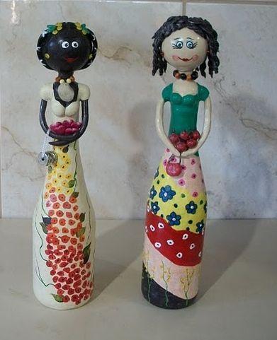 reciclagem-garrafas-de-vidro-bonecas.jpg (391×481) | Papietagem e