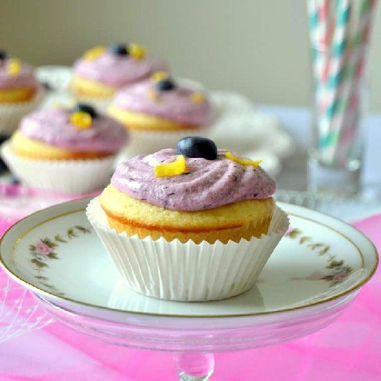 Lemon Cupcakes with Blueberry Buttercream Frosting