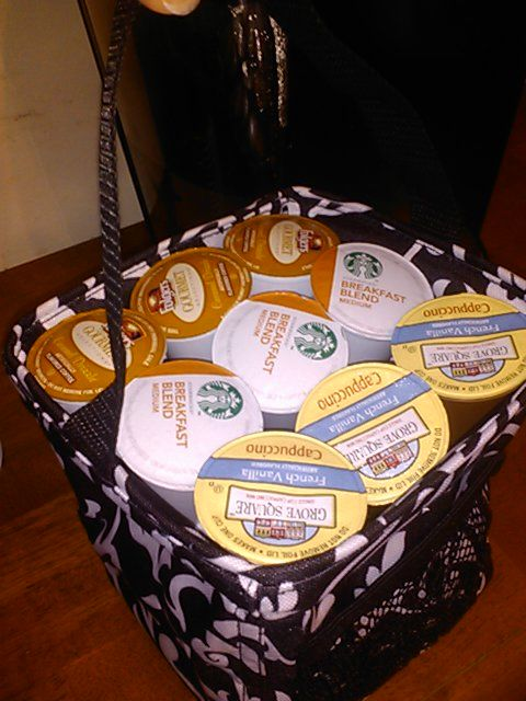 The lils caddy from Thirty-One holds 27 K-cups for my Kuerig perfectly. Love me some Thirty-One and K-cups!